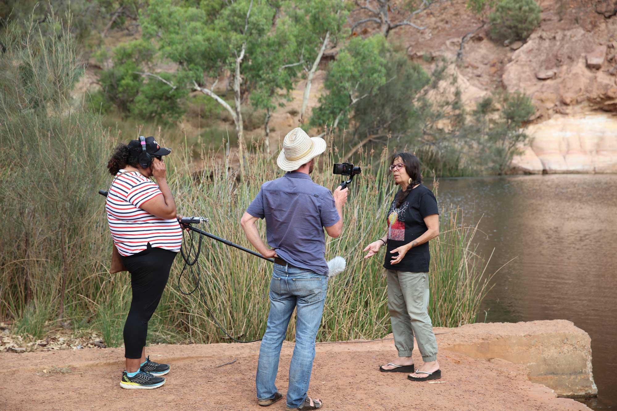 Yamaji Arts crew filming on country. Photo by Glenn Iseger Pilkington