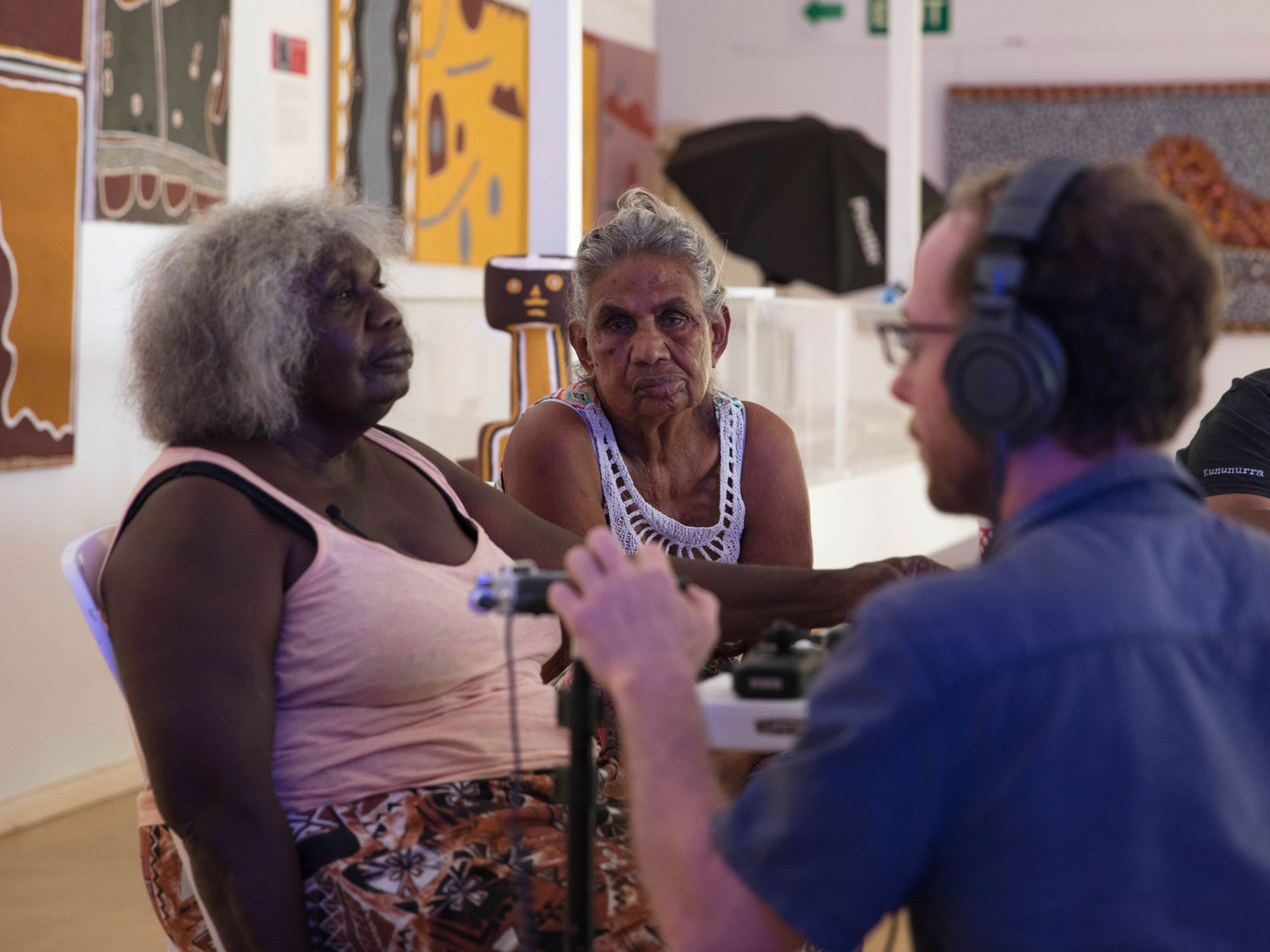 Miriwoong Elders Agnes Yamboong Armstrong and Peggy Griffiths-Madij being interviewed by Sohan Ariel Hayes. Image by Glenn Iseger Pilkington