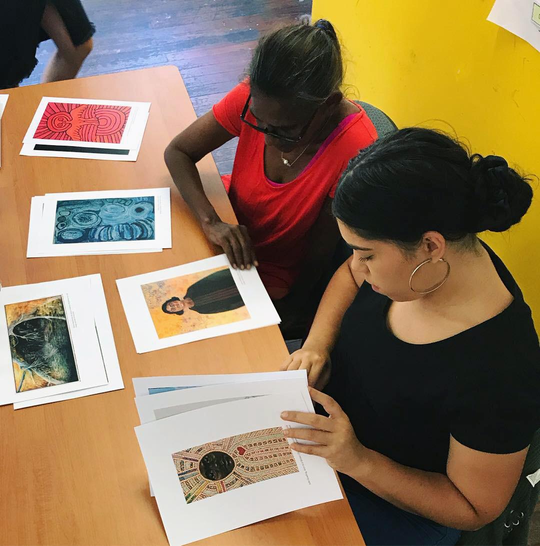 Dora Griffiths (Waringarri Aboriginal Arts) and Lily-mae Kerley (Yamaji Arts) training at ART ON THE MOVE.