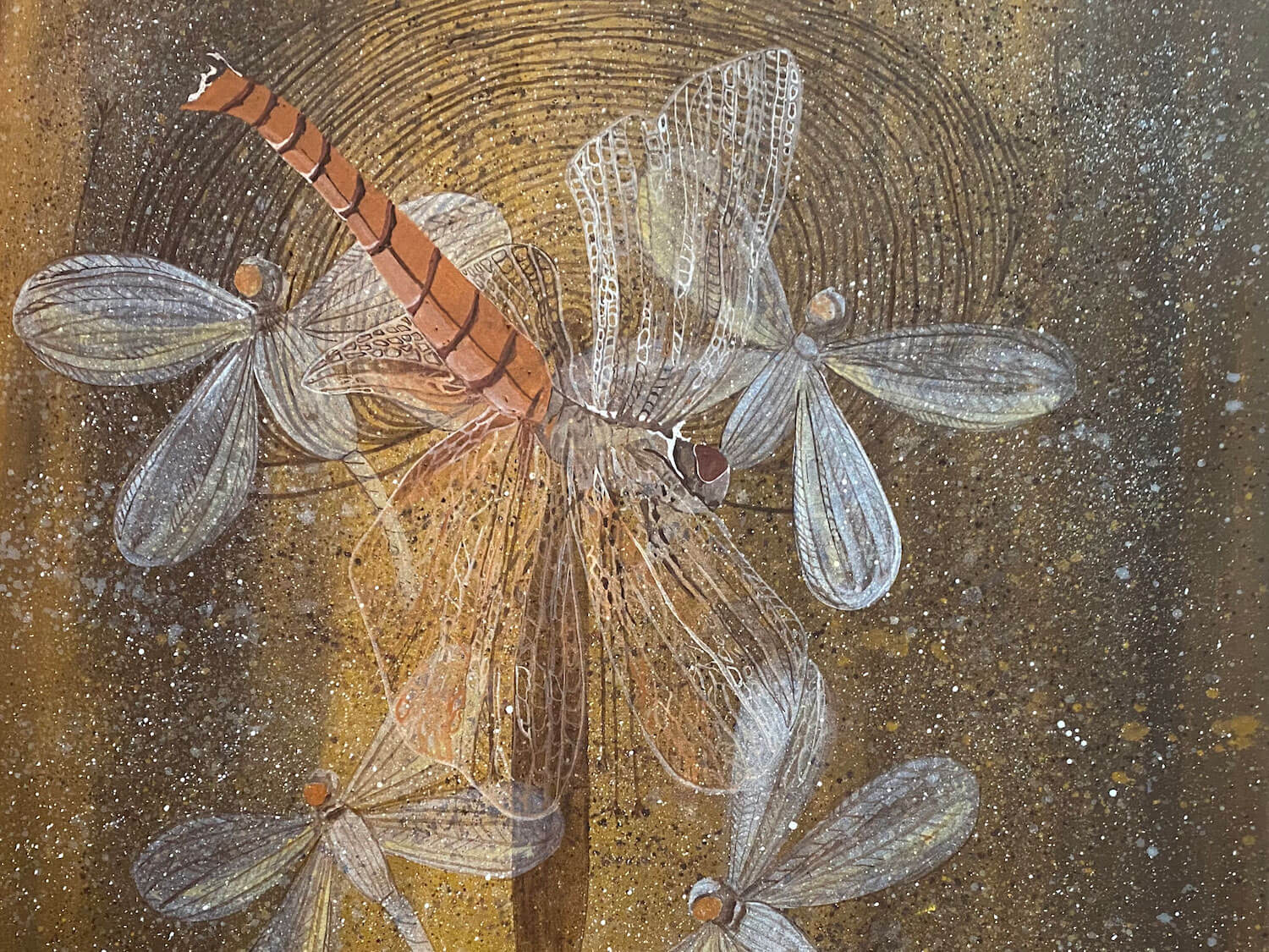 Leah Umbagai, Didnyjinygee (Dragonfly) (detail), 2020, acrylic and ochre on canvas, 90 x 90cm. Image courtesy of Mowanjum Arts