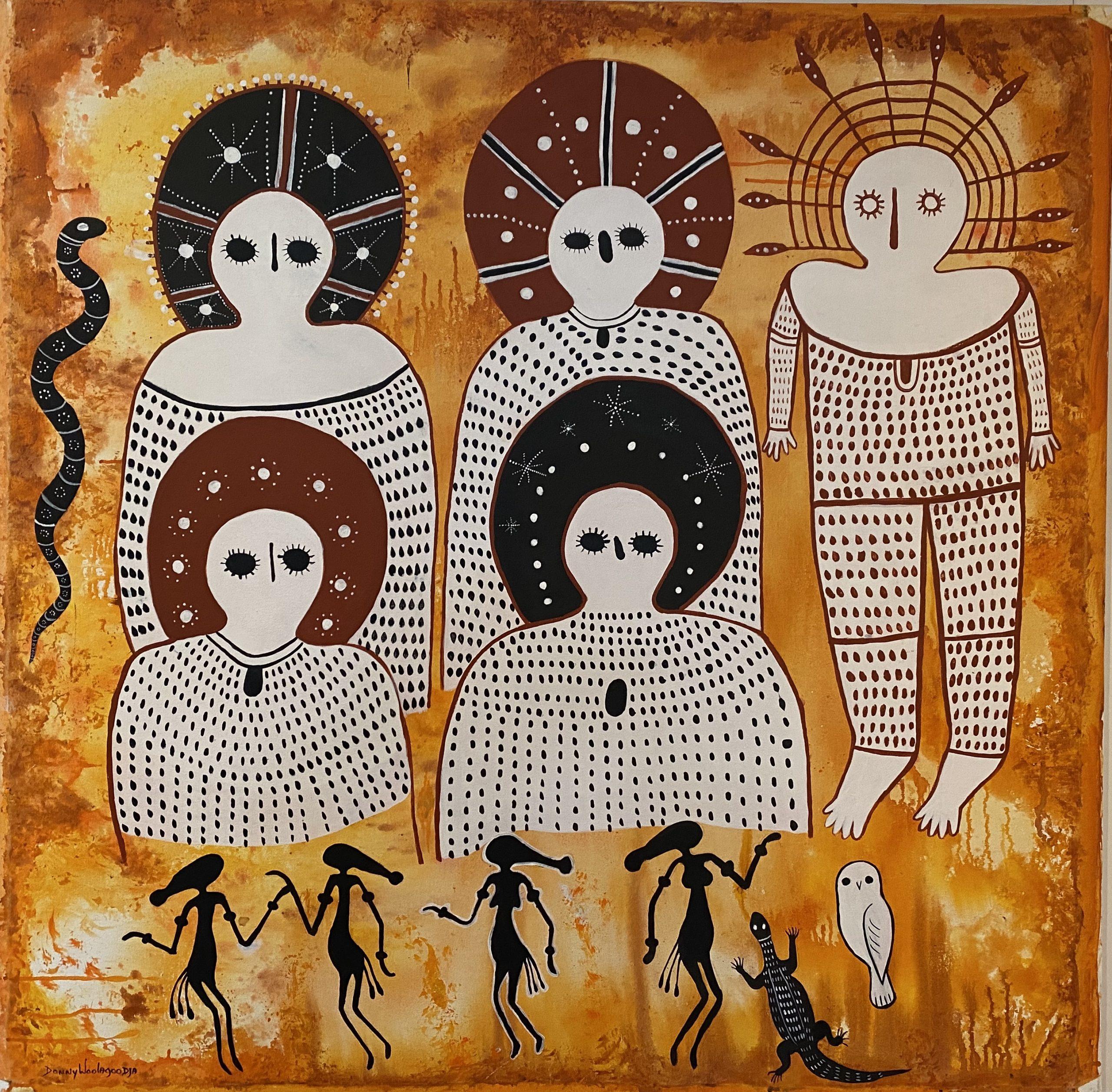 Donny Woolagoodja, Wandjina Dreaming, 2018, acrylic on canvas, 123 x 123cm. Image couresty of Mowanjum Arts
