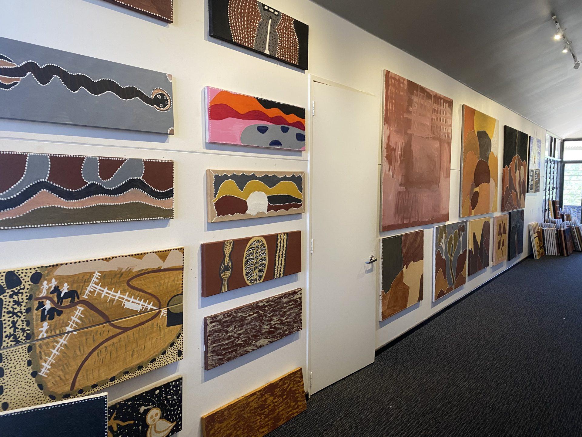 Artworks installed at Warmun Art Centre. Image courtesy Chad Creighton.